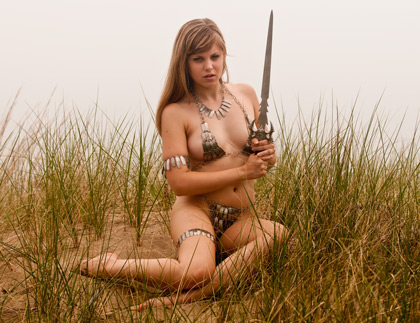 Sample image Missy Rhodes at beach with sword